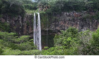 Chamarel waterfalls in Mauritius Landscape in a sunny day