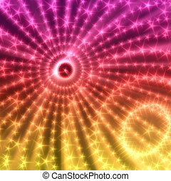 Abstract techno background with circles from glowing particles.