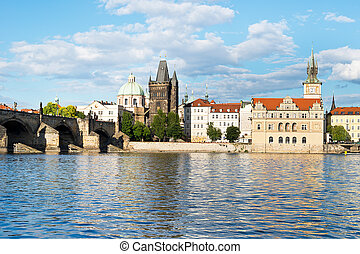 Vltava River with Charles Bridge in Prague