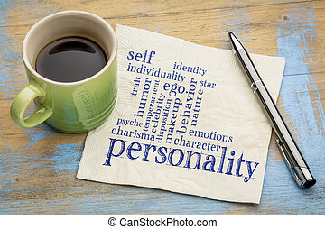 personality and character word cloud - handwriting on a...