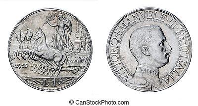 Uno, lira, plata, moneda, 1912, Quadriga, Veloce, Vittorio,...