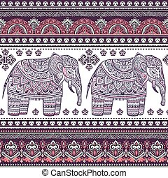Ethnic Indian bohemian style elephant seamless pattern with...