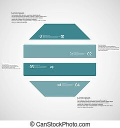 Octagon illustration template consists of four blue parts on...