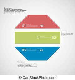 Octagon illustration template consists of three color parts...