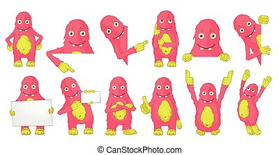 Vector set of cute pink monsters illustrations. - Set of...