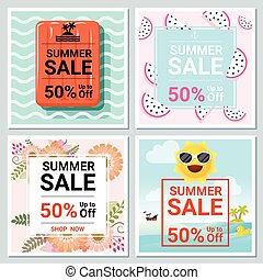 Set of summer sale template banner 1 - Set of summer sale...