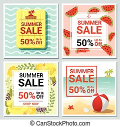Set of summer sale template banner 2 - Set of summer sale...