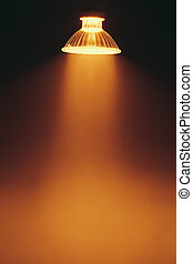 halogen lamp with reflector, warm spotlight in a fog