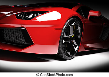 Red fast sports car in spotlight, black background. Shiny,...