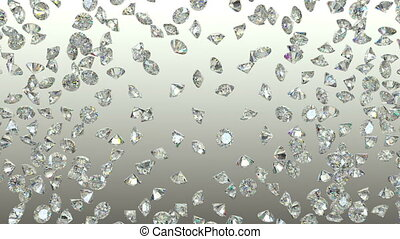 Diamonds scattering or flying away over studio light...
