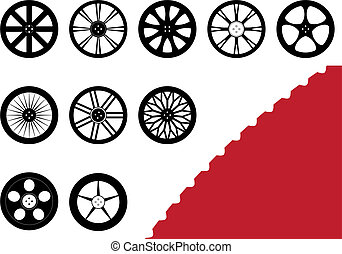 10 Rims Set - A set of 10 different rims with a detailed...
