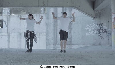 Dancers in an abandoned carpark - Video of active young...