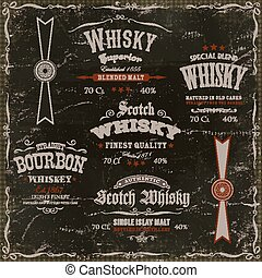 Whisky Labels And Seals On Chalkboard Background -...