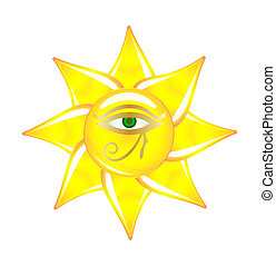Egyptian eye on the sun glass - Vector sun is made in glass...