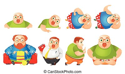 Vector set of cheerful fat man illustrations. - Set of...