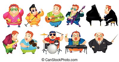 Vector set of funny fat man music illustrations - Set of...
