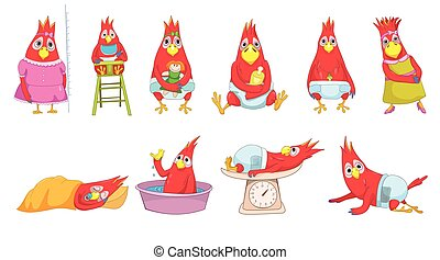 Vector set of funny baby parrots illustrations.