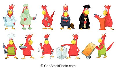 Vector set of funny parrots illustrations.