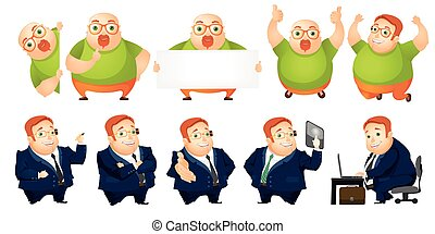 Vector set of cheerful fat man illustrations - Set of people...