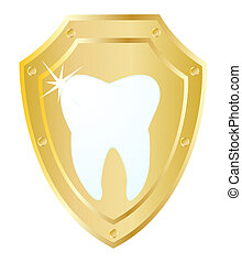 Shield and a tooth - Vector gold stylized shield with a...