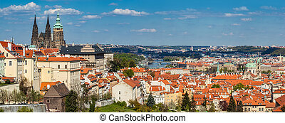 Prague, Czech Republic panorama St Vitus Cathedral over old...