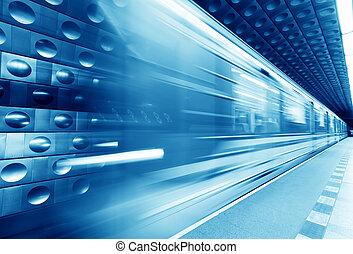 Underground train, subway in motion. Blue tint