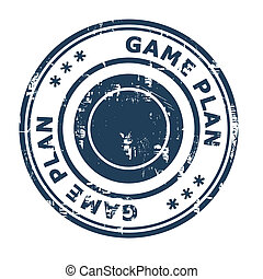 Game Plan business concept rubber stamp isolated on a white...