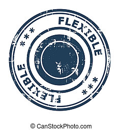Flexible business concept rubber stamp isolated on a white...