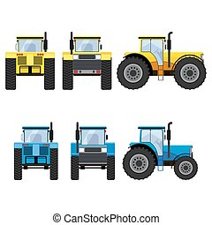 Yellow and blue tractors with big wheels - Yellow and blue...