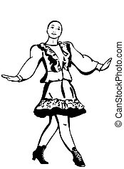 girl having fun dancing folk dance - black and white vector...
