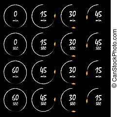Timer vector set burning in fire flames