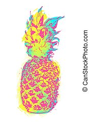 Summer pineapple art in colorful paint style