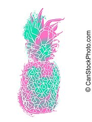 Modern pineapple paint art with summer color