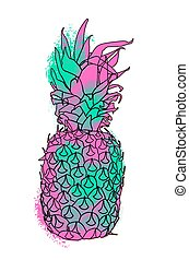 Colorful paint summer pineapple illustration