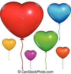 Vector heart balloon. Color set. - Set of shiny vector heart...