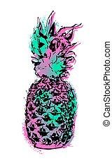 Pineapple fruit color art design for summer