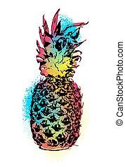 Colorful pineapple fruit art design for summer
