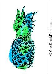 Modern color pineapple fruit art for summer