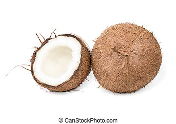 Whole and half coconut - Whole hairy coconut and near half a...