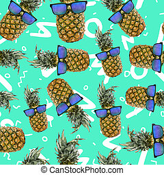 Trendy summer pineapple background with sunglasses - Summer...