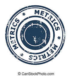 Metrics business concept rubber stamp isolated on a white...