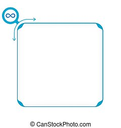 Vector blue box to fill your text and infinity symbol