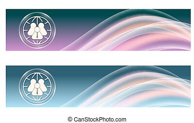 Set of two banners with colored rainbow and globe