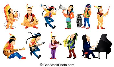 Vector set of american indians music illustrations