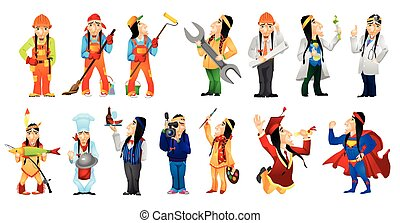 Vector set of american indians illustrations. - Set of...