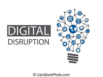 Digital disruption background - Digital disruption vector...