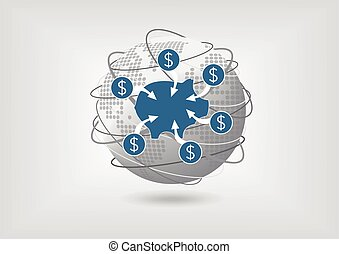 Concept to transfer money from savings account in global...