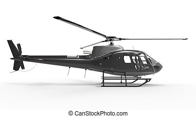 Black civilian helicopter on a white uniform background 3d...