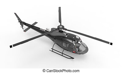 Black civilian helicopter on a white uniform background. 3d...