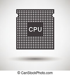 CPU icon on gray background, round shadow Vector...